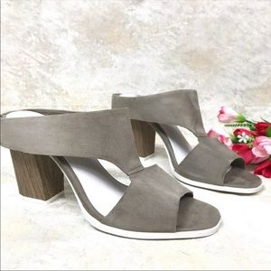 "Anthro"" Seychelles Grey Detour Suede Mull Heel 9"